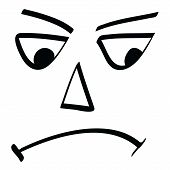 stock photo of feeling stupid  - vector illustration of face funny and bad - JPG