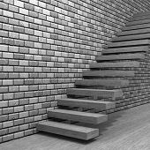 Concept or conceptual white stone or concrete stair or steps near brick wall background with stone