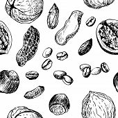 vector seamless pattern with nuts an coffee