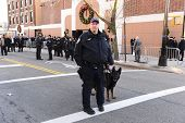 K9 officer outside Christ Tabernacle Church
