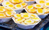 Fried Quail Egg With Foam Plate.