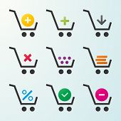 Set Of Icons Of Shopping Carts