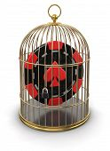 Gold Cage with Casino chip (clipping path included)
