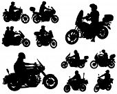 motorcyclists silhouettes collection