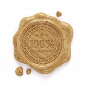 foto of wax seal  - 3d render of wooden wax seal 100 percent premium quality stamp isolated on white background - JPG