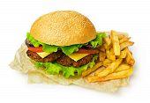 Big Hamburger And French Fries