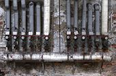 Old Pipes With Valves And Ads