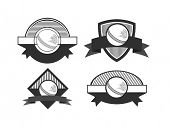 Retro style cricket sports badge or label with ball and space for your text on white background.