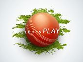 Shiny ball with text Let's Play on green grass for Cricket sports concept.