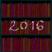 2016 inscription of snowflakes over bookshelf