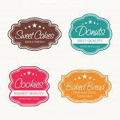 Set of four label for sweet cakes, donuts, cookies and baked bread on white background.