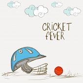 Batsman helmet with red ball for Cricket Fever on clouds decorated grey background.