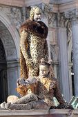 Couple Disguised As A Leopard During The Carnival Of Venice