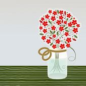 foto of mason  - Mason Jar with bouquet of flowers  - JPG
