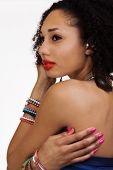 Bare Shoulder Portrait Attractive African American Woman