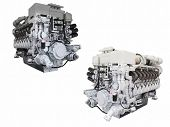 The image of engines isolated under the white background