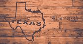 pic of usa map  - Texas state map brand on wooden boards with map outline and state motto - JPG