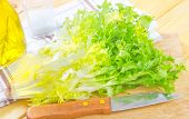 foto of escarole  - fresh salad and knife on the wooden board - JPG