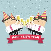 Businessman happy newyear party vector