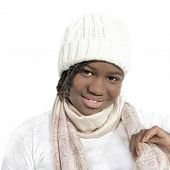 foto of racial discrimination  - Beautiful young Afro girl smiling and isolated - JPG