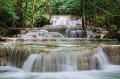Huay Mae Kamin Beautiful Waterfall In Kanchanaburi, Thailand