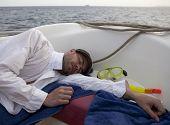 Tired diver sleep