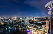 Bangkok Cityscape At Night With Strom