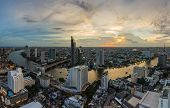 Bangkok Cityscape And Chaophraya River Panorama