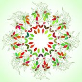 Round lase pattern  with poinsettia