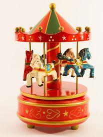 stock photo of merry-go-round  - red merry - JPG