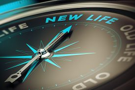 pic of motivation  - Compass with needle pointing the word new life concept image to illustrate change motivation concept - JPG