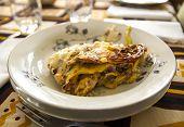 image of lasagna  - view of Italian lasagna handmade in a restaurant - JPG