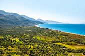 stock photo of albania  - Borsh beach with beautiful landscape in Albania - JPG