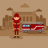 image of fireman  - Concept on the subject of the fire station - JPG