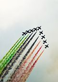 picture of aerobatics  - aerobatic airshow with colors in the sky - JPG
