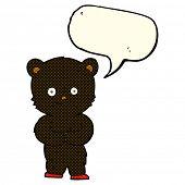 image of bear-cub  - cartoon teddy black bear cub with speech bubble - JPG