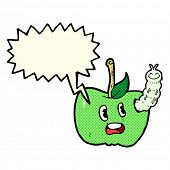pic of caterpillar cartoon  - cartoon apple with bug with speech bubble - JPG
