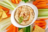 pic of pita  - Healthy homemade hummus with vegetables - JPG