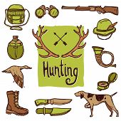 pic of deer horn  - Hunting hand drawn icons set with dog weapon deer horns isolated vector illustration - JPG