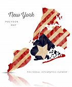 picture of polygon  - Vector polygon map of New York on a white isolated background - JPG