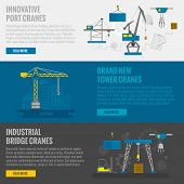 image of lift truck  - Lifting equipment horizontal banner set with cargo and construction cranes elements isolated vector illustration - JPG