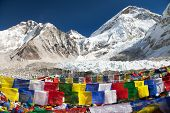 stock photo of dharma  - view from Mount Everest base camp with rows of buddhist prayer flags  - JPG