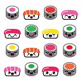 stock photo of kawaii  - Vector icons set of Kawaii sushi isolated on white - JPG