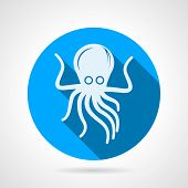 foto of sucker-fish  - Flat round blue vector icon with white silhouette octopus on gray background - JPG