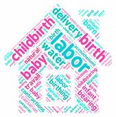 picture of birth  - Home birth labor word cloud shaped as a house on a white background - JPG