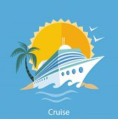 stock photo of passenger ship  - Cruise ship in clear blue water with palm tree - JPG
