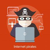 image of knife  - Pirate attacking with a knife a laptop computer as internet pirate - JPG