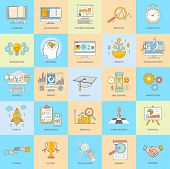 stock photo of online education  - Set of thin line icons of alarm clock finance - JPG