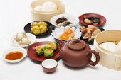 stock photo of chinese menu  - Group of stream Dim Sum chinese food and hot Tea  - JPG