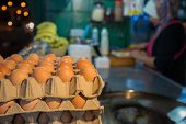 image of indian food  - Egg for making an indian traditional food made of flour, crispy flat bread ,Blurred chef and mobile shop in Thailand night street food. - JPG